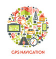 gps navigation banner with navigator app icons set vector image