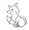hand drawn fox cartoon vector image