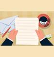hand holding envelope correspondence paper letter vector image