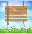 hang wood board sign with grass and sky background vector image vector image