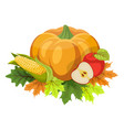 happy thanksgiving composition on white vector image vector image