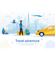 hitchhiking travel adventure flat ad banner vector image vector image