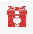 Icon red gift box with bow covered in white grit vector image vector image