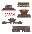 japanese travel landmark icons temple pagoda vector image vector image