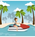 jet ski girl riding beach vector image vector image