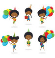 jumping african-american boys carrying colorful vector image vector image