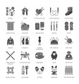 knitting crochet hand made flat glyph icons set vector image