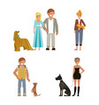 man and woman with dog vector image