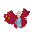 map china with old man peasant vector image vector image