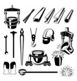 metallurgical symbols set vector image