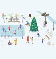 people walk in park in winter vector image vector image