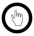 pixel hand black icon in circle vector image vector image