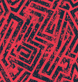 red industrial maze seamless pattern with grunge vector image vector image