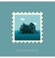 Rocks in the sea stamp Summer Vacation vector image vector image