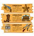 set banners on theme wild west design vector image vector image