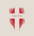 sign abstract cross with word faith vector image