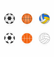 soccer basketball and volleyball balls set vector image