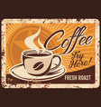 steaming coffee cup with fresh drink and steam vector image vector image