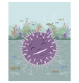 Urchin floating in the sea vector image vector image