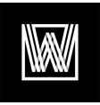 W capital letter made of stripes enclosed in a vector image