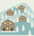 winter mountain landscape with houses vector image