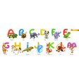 zoo alphabet funny animals 3d icons set letters a vector image