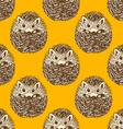 Sketch cute hedgehog in vintage style vector image
