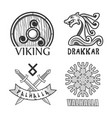 viking drakkar and valhalla monochrome isolated vector image