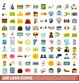 100 loan icons set flat style vector image