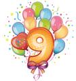 9 happy birthday vector image vector image