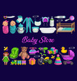baby store toys shop newborn kids gifts and care vector image