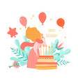 birthday card template with cake and girl vector image