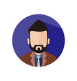 black hair bearded business man circle icon vector image vector image