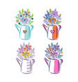 bouquet flowers in a watering can cute floral vector image