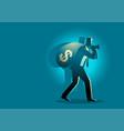businessman carrying money bag on his shoulder vector image vector image