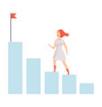 businesswoman moving up to her goal on column of vector image vector image