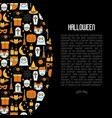cartoon halloween concept with thin line icons vector image vector image