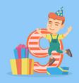 caucasian boy celebrating ninth birthday vector image vector image