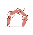 chain of sausages with hands legs and happy faces vector image