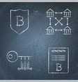 chalkboard cryptocurrency icon set in line style vector image