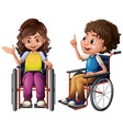 Children and wheelchair vector image vector image