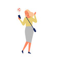 cute cheerful woman sending messages via vector image vector image
