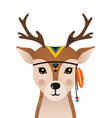 cute deer have headdress with feathers on head vector image