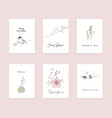 cute spring postcards with hand drawn springtime vector image vector image