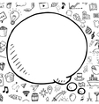 Doodle speech bubble with objects hand vector image vector image