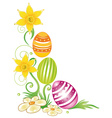 Easter eggs daffodils vector image vector image