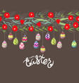 easter eggs hanging on the florals vector image vector image