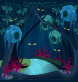 enchanted forest with mysterious creatures ghosts vector image