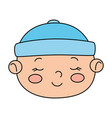 face cute little baby boy isolated icon vector image vector image