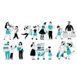 family shopping consumer buy in supermarket vector image vector image